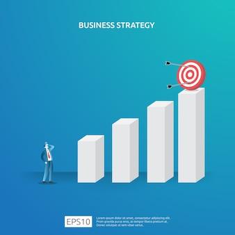 El logro de objetivos comerciales, la visión y el concepto de plan para la planificación y administración de finanzas. gestión exitosa de la estrategia de ganancias de ingresos de inversión con figura de ajedrez e ilustración de destino de diana