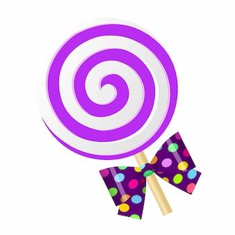 Lollipop púrpura de la historieta linda de la diversión con el arco.