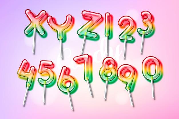 Lollipop sweet candy fuente de alfabeto colorido con transparencia y sombras
