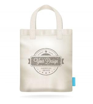 Lona blanca natural maqueta plantilla de bolsa de compras