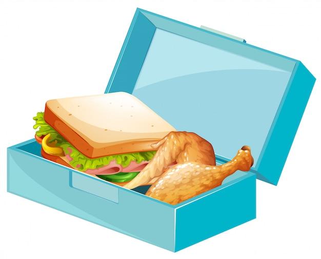 Lonchera con sándwiches y pollo frito.