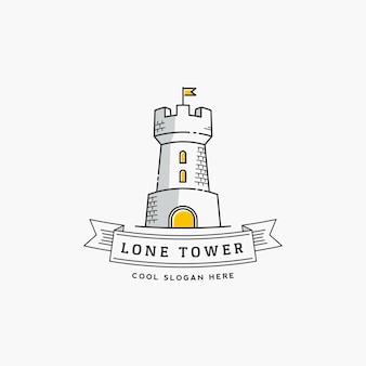 Lone tower resumen signo, icono, etiqueta o plantilla de logotipo en estilo de línea. fortaleza con un estandarte de bandera y tipografía.