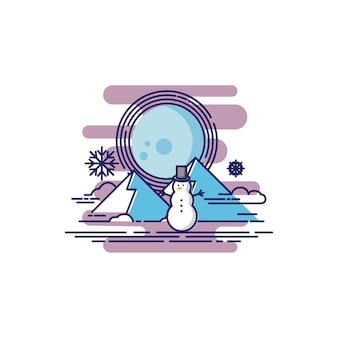 Lonely snowman en una montaña