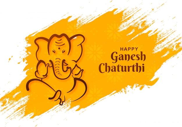 Lord ganesh chaturthi festival indio en trazo de pincel