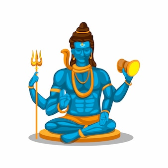 Lord shiva figura símbolo concepto de religión hindú en dibujos animados aislado en fondo blanco.