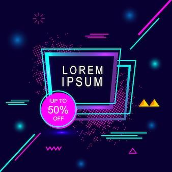 Lorem ipsum especial venta flash banner de geometría creativa