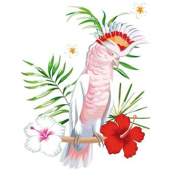 Loro ara con plantas y flores tropicales.