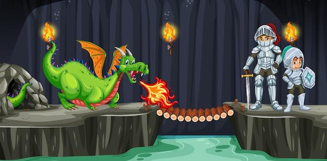 Los caballeros se pelean con el dragón en la cueva oscura