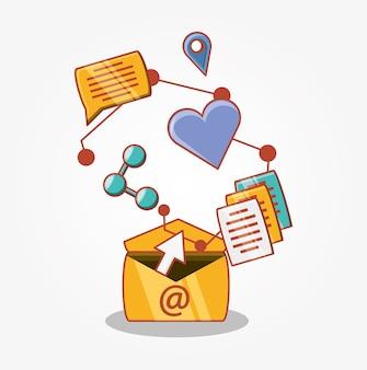 Los medios sociales establecen iconos ilustración vectorial diseño
