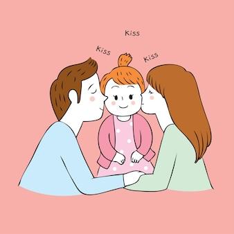 Los padres lindos de la historieta besan vector del bebé.