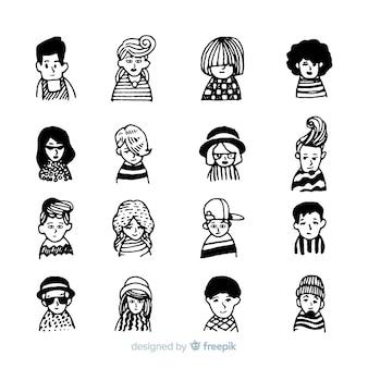 Lote de avatar de personas en diseño dibujado a mano