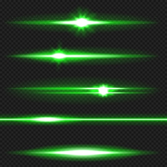 Lote de destellos de lentes horizontales verdes. rayos laser, rayos de luz horizontales.