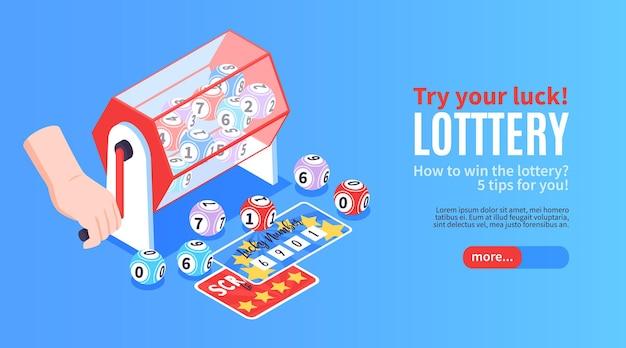 La lotería de la fortuna isométrica gana un banner horizontal con imágenes de boletos de premio dibujando bolas y texto editable
