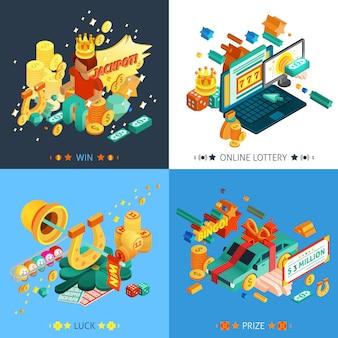 Lotería y jackpot concept icons set