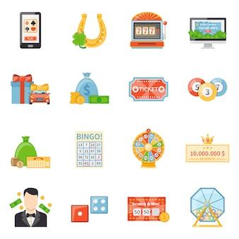 Lotería y jackpot iconos decorativos