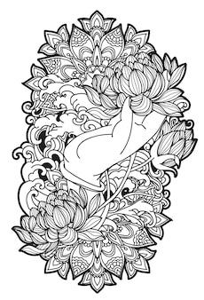 Loto del arte del tatuaje en el bosquejo de la mano con la ilustración del arte de línea aislada