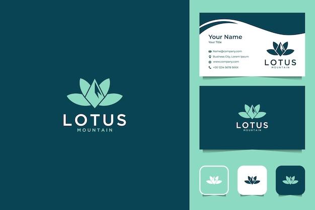 Lotus con diseño de logotipo de montaña y tarjeta de visita.