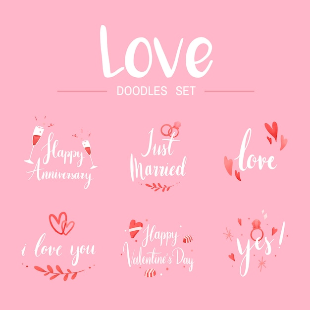 Love doodle set tipography vectores
