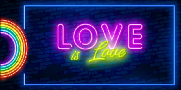 Love is love neon text lgbt