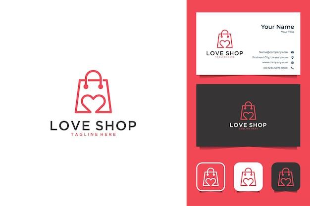 Love shop diseño de logotipo moderno y tarjeta de visita.