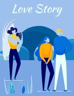 Love story movie shooting - pareja y camarógrafo.