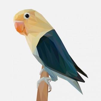 Lovebird vector con estilo lowpoly