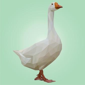 Lowpoly art of white duck