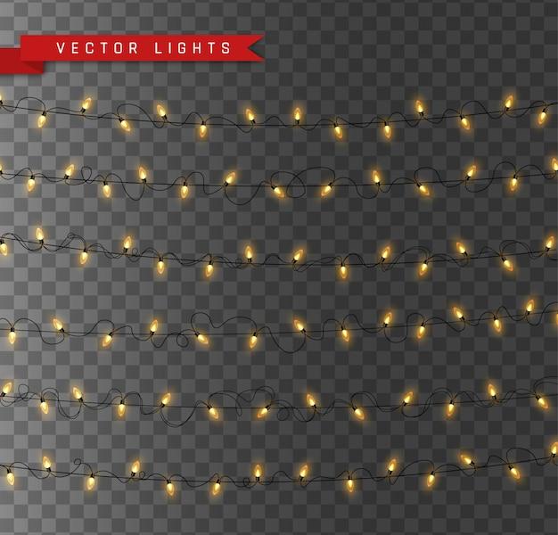 Luces aisladas sobre fondo transparente. guirnaldas para tarjetas, pancartas, carteles, diseño web. conjunto de ilustración de lámpara de neón led guirnalda brillante dorada