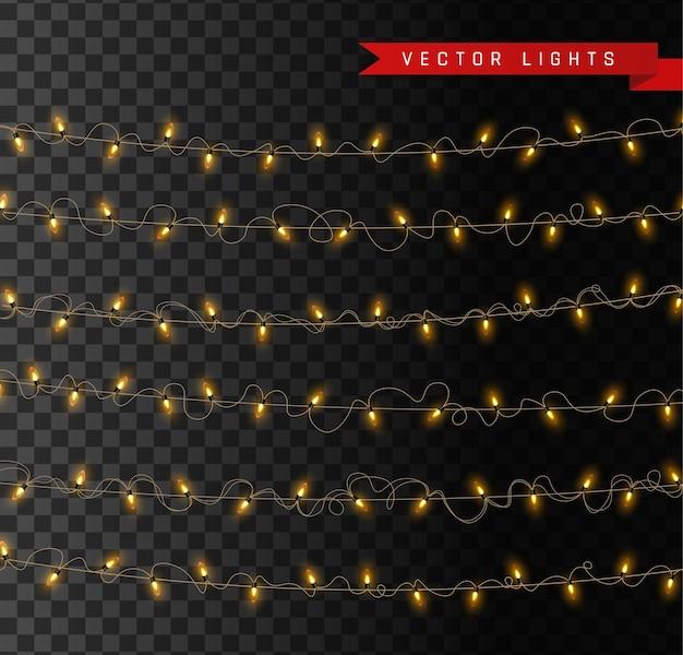 Luces aisladas sobre fondo transparente. guirnaldas