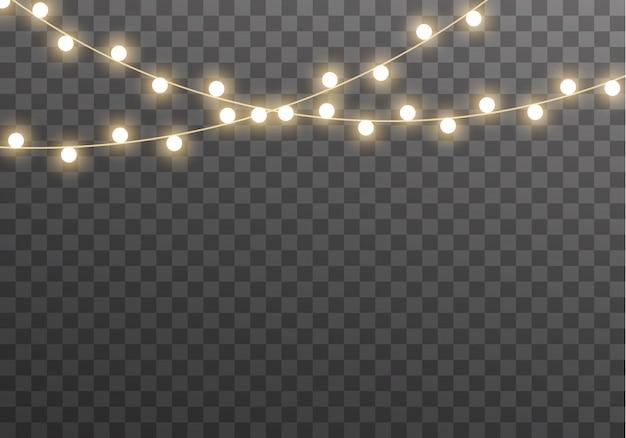 Luces aisladas sobre fondo transparente para tarjetas, pancartas, carteles, diseño web. conjunto de ilustración de lámpara de neón led guirnalda brillante dorada