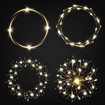 Luces de bengala encendidas, efectos pirotécnicos, luces mágicas moviéndose en círculo.