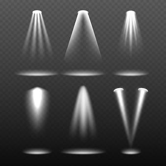 Luces blancas del escenario. entorno brillante y proyección de relámpagos vector plantilla realista