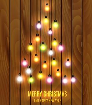 Luces de bombilla de navidad dispuestas