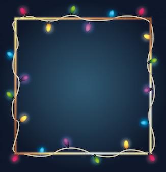 Luces de bombillas de colores de feliz navidad en marco cuadrado