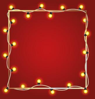 Luces de bombillas de feliz navidad en marco cuadrado