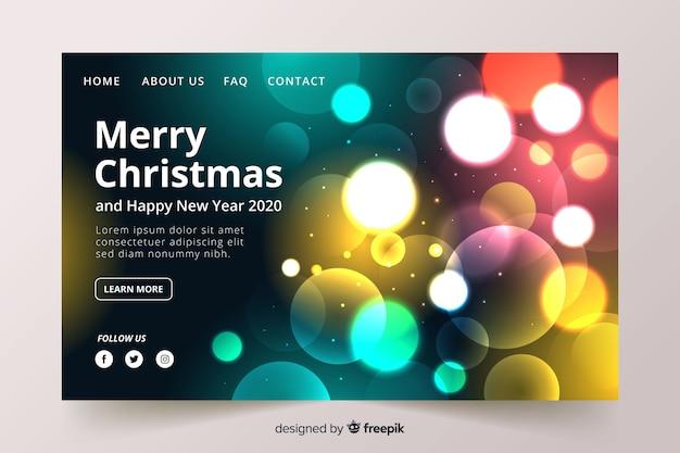 Luces borrosas página de aterrizaje de navidad