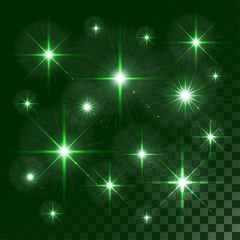 Luces brillantes y estrellas aisladas en colores transparentes