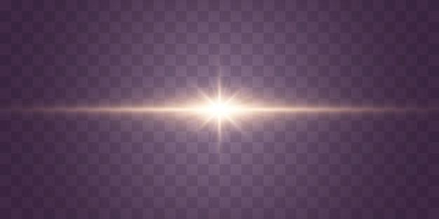 Luces brillantes y estrellas aisladas sobre fondo transparente conjunto de explosiones de luz magos brillantes