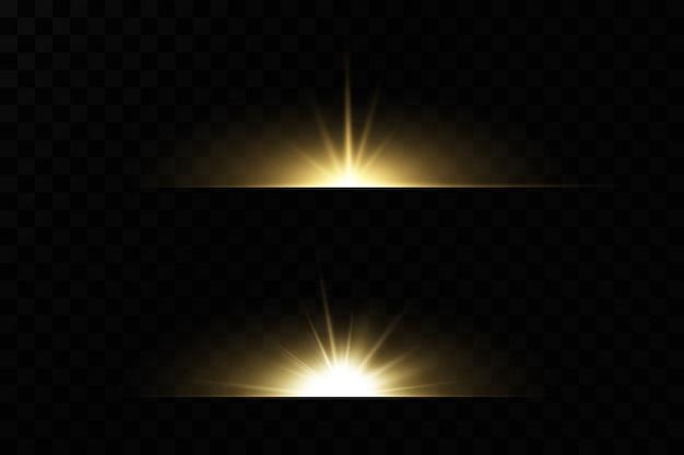 Luces brillantes y estrellas. aislado conjunto de explosiones de luz. brillantes partículas de polvo mágico. estrella brillante, destellos sol brillante transparente, flash efecto de luz