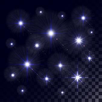 Luces brillantes y estrellas. aislado