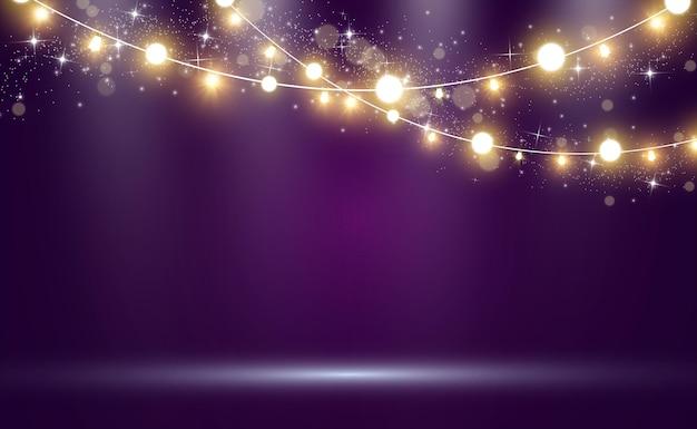 Luces brillantes y hermosas. guirnaldas de luces brillantes.