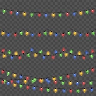 Luces brillantes para tarjetas navideñas, pancartas, carteles, diseño web. guirnaldas vector