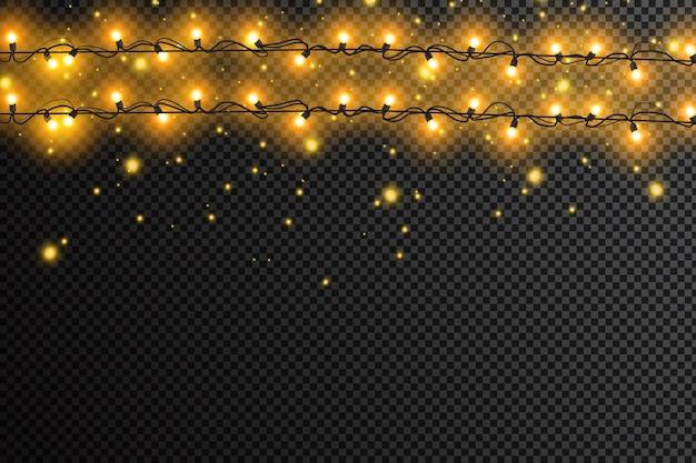 Luces brillantes para vacaciones de navidad. guirnaldas, adornos navideños.