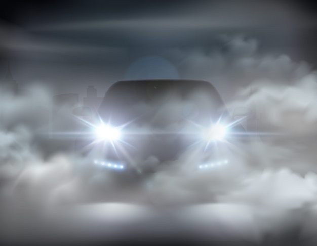 Luces del coche realistas en concepto abstracto de composición de niebla con coche plateado en la ilustración de la noche