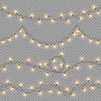 Luces, decoraciones, guirnaldas aisladas sobre un fondo transparente. luces brillantes