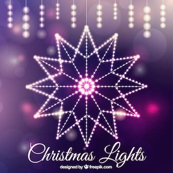 Luces decorativas de navidad con fondo abstracto