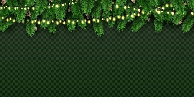 Luces decorativas de vacaciones realistas en pino de navidad. banner de navidad con guirnalda de bulbos y ramas de abeto con fondo de vector de conos de pino