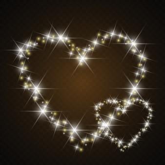Luces y desenfoques. fondo de corazón de amor corazón luminoso