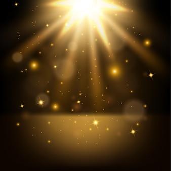 Luces doradas brillantes ilustración