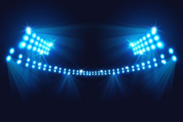 Luces de estadio brillantes realistas